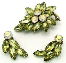 Vintage Juliana Rhinestone Brooch and Earrings Set Pale Green Navettes A... - $39.95