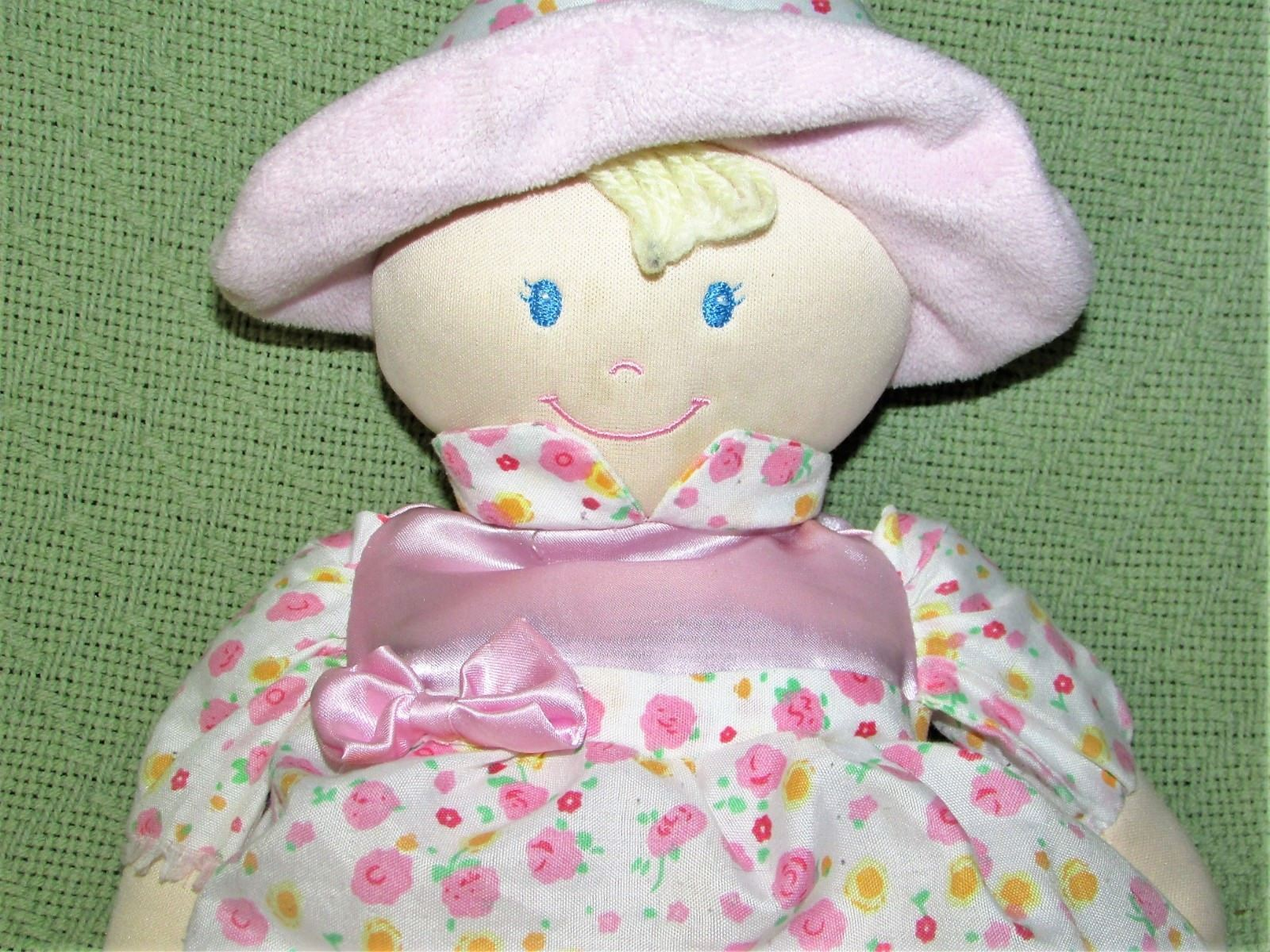 "Kids Preferred Plush BABY DOLL Pink 12"" Blue Eyes Satiny Flower Dress Hat 2012 image 2"
