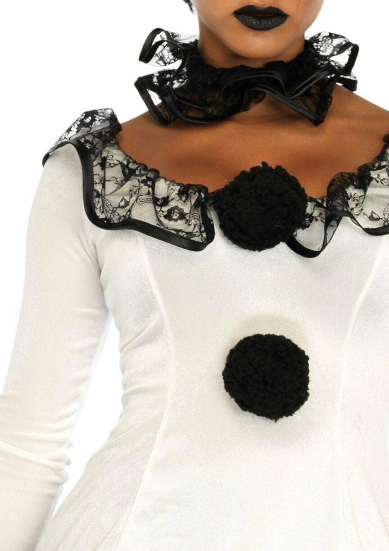 Leg Avenue Pierrot Clown Sexy Gothic Dress Adult Womens Halloween Costume 86658