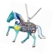 Love Heart Enamel Zinc Alloy Metal Horse Necklace Animal Pendant Gift 18 Inches - $43.49
