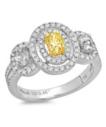 Fancy Yellow Oval Diamond 18k Two Tone Gold Engagement Ring Size 6.5 - $5,601.87