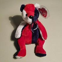 TY Beanie Babies Bear Patriot Has Flag on Left Foot DOB 2000 Tag 2001 Date Error - $8.95