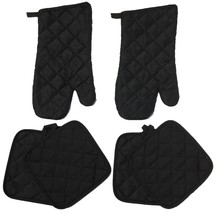Set of 6, Solid Quilted Kitchen Set Includes 4 Pot Holder, 2 Oven Mitt. - $11.99
