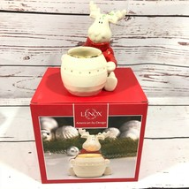 Lenox Hosting The Holidays Christmas Moose Votive Candle Holder Gold Trim - $24.74