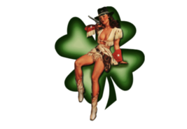 Made In United States Lucky Cowgirl Nose Art Decal 6''   - $19.79