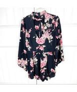 Fashion Nova Women's Black Pink Floral Choker Long Sleeve Romper Size Sm... - $24.74