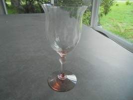 Heisey Fairacre Flamingo Pink Diamond Optic Champagne Glass Signed - $19.80