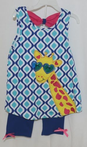are Editions Giraffe Shirt Bike Shorts 2 Piece Set Royal Blue Size 6