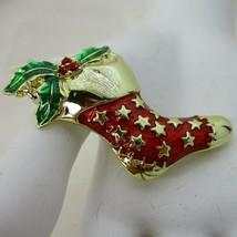 Vintage Danecraft Red Enamel Stocking Gold Stars Green Holly Brooch Pin Signed  - $19.78