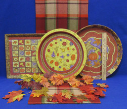 Autumn Harvest Plaid Table Runner 2 Round Metal Trays 1 Rectangle Tray &... - $15.98