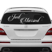 Just Married Vinyl Car Decal Wedding Cling Sticker Back Window Banner De... - $11.87+