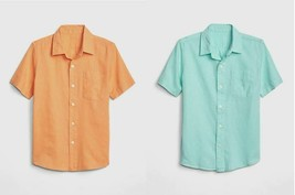 Gap Kids Boys Shirt 6 7 8 10 12 14 16 Linen Blue Orange Short Sleeve Poc... - $21.99