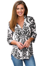Black Damask Print Slight Collar V Neck Blouse  - $22.01