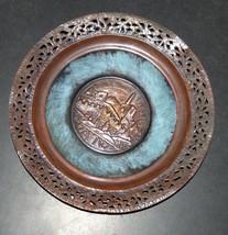 Judaica Israel Vintage Copper Plate Tray Tower of David Jerusalem Wall Hang image 2