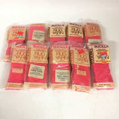 "Lot 10 Bags 522 Flame Pink Bucilla Acrylic Pre Cut Rug Yarn 2"" Vintage - $16.14"