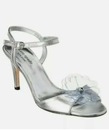 Kate Spade New York Giulia Silver Leather Heeled Sandals Size 8M  - $29.69