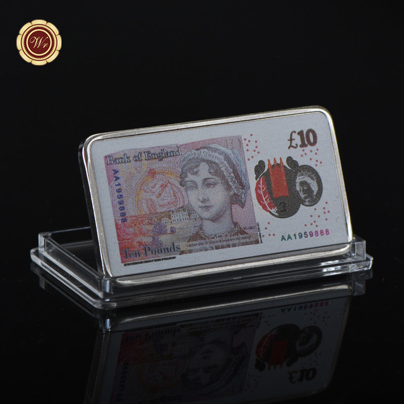 WR England 2017 New 10 Pound Note Printed Silver Clad Bar Great Britain Keepsake image 3