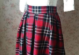 2017 Autumn Women Plaid Skirt Pleated Plaid Skirt - High Waist, Red Check,Midi  image 3