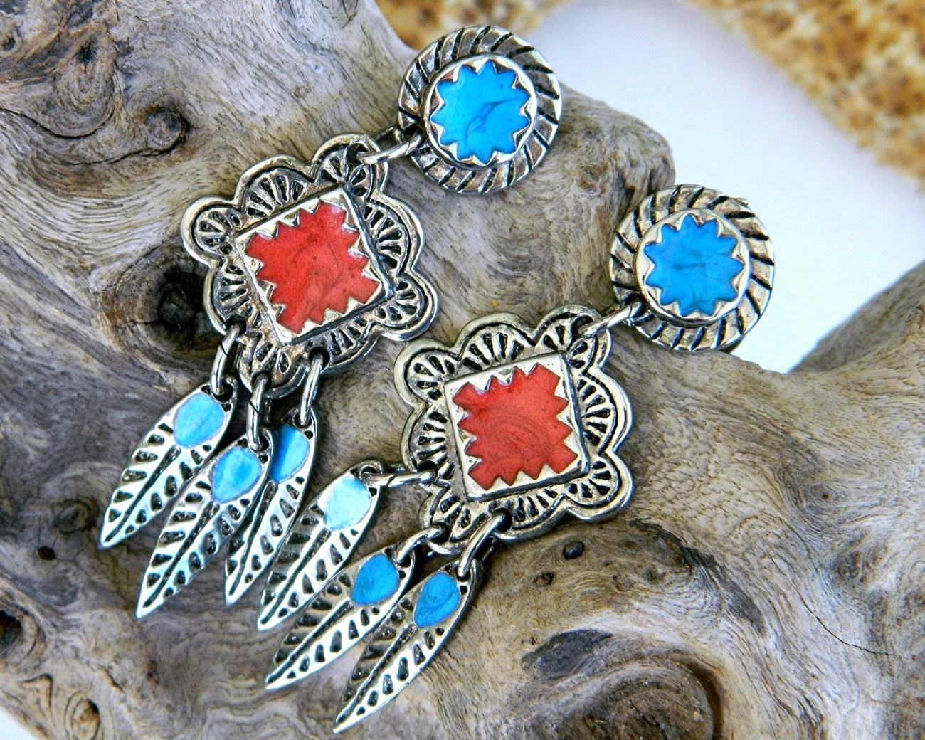 Vintage Berebi Southwestern Earrings Enamel Feather Dangles Pierced 16 95