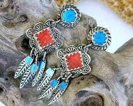 Vintage Berebi Southwestern Earrings Enamel Feather Dangles Pierced - $16.95