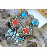 Vintage berebi southwestern earrings enamel silver red blue thumbtall