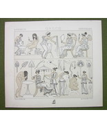 GREEK WOMEN Fashion Toilette Hairstyle- (3) Three Tinted Litho Prints by... - $12.15
