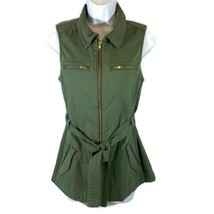 Guess Womens Utility Vest Sleeveless Tie Waist Full Zip Military Army Gr... - $29.70