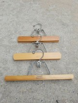Lot Of 3 Vintage Setwell Wooden Clamp Pants Hangers - $8.74