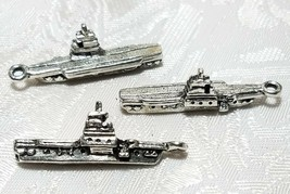 BATTLE SHIP FINE PEWTER PENDANT CHARM - 6x30x10.5mm