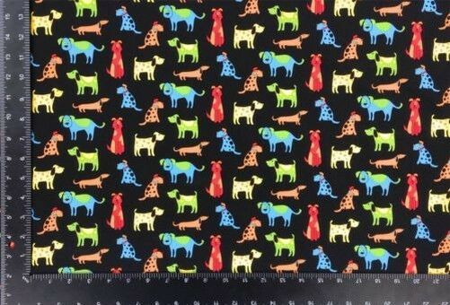 Happy Paws Dogs Multi Black 100% Cotton High Quality Fabric Material 3 Sizes