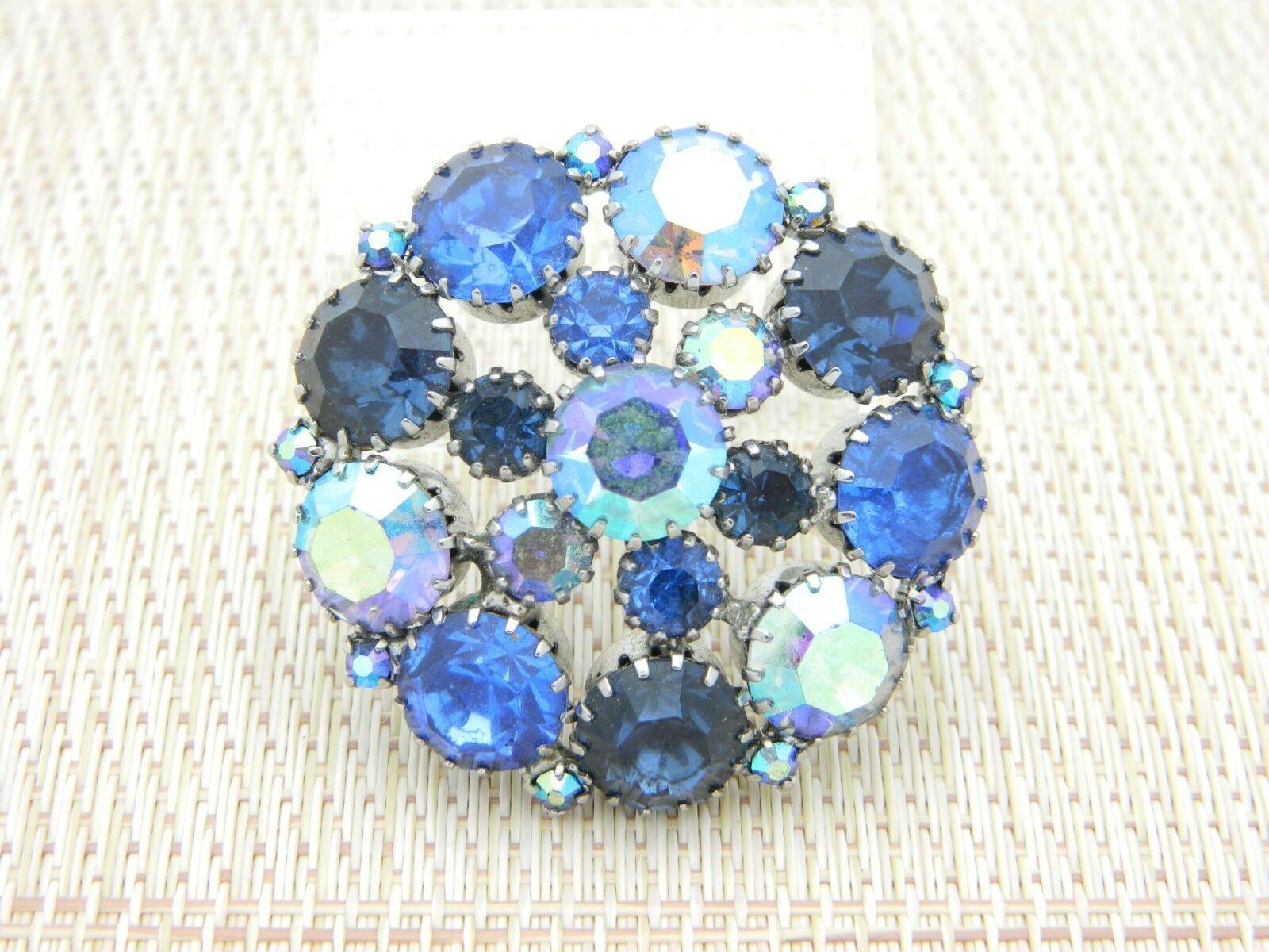 Blue Aurora Borealis Rhinestone Silver Tone Pin Brooch Vintage