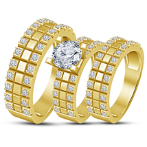 Round Cut Diamond Wedding Mens & Womens Engagement Trio Ring Set 14K Gol... - $154.99