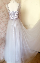 GRAY A-line Embroidery Flower Sweetheart Tulle Gray Bridesmaid Wedding Dresses image 6