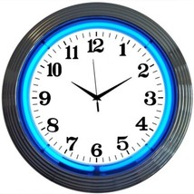 "Chrome Blue Standard Neon Clock 15""x15"" - $59.00"