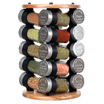 Olde Thompson, 20 Jar Spice Acacia Wood Revolving Carousel Rack - $44.99