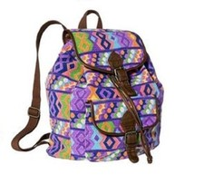 Mossimo Supply Co Fabric Backpack Drawstring Purple Geometric - $11.99