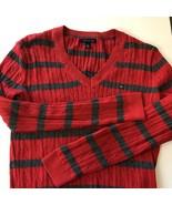 Womens Long Sleeve Tommy Hilfiger Red Gray Striped Shirt Top Medium M Vi... - $23.76