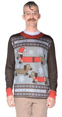 Ugly Christmas Sweater Weiner Dog Mens Adult Costume Halloween Party FR127465