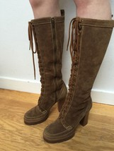 Michael Kors LACEUP TALL KNEE BOOTS Brown Suede Leather Stacked Heel 8M ... - $143.99