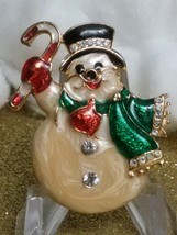 HAPPY SNOWMAN CANDY-CANE CHRISTMAS HOLIDAY BROOCH-16 CRYSTALS, CLOISONNE... - $14.85