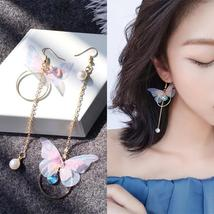 Korean Retro Asymmetric Butterfly Imitation Pearl Earrings Fashion Round... - $1.24+