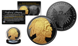 INDIAN HEAD SKULL 1 oz Copper Medallion BLACK RUTHENIUM w/ 24K Gold Gild... - $18.65