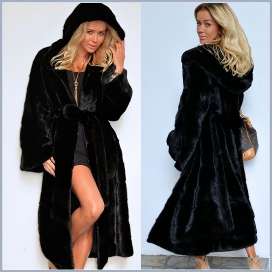 Big Hooded Sleek Black Mink Sable Faux Fur Long Pelt Parka Overcoat