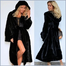 Big Hooded Sleek Black Mink Sable Faux Fur Long Pelt Parka Overcoat  - $169.95