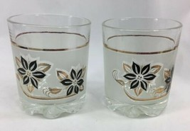 Cerve Italy DeValBor MCM Frosted Old Fashioned Rocks Glasses Black Gold ... - $14.85