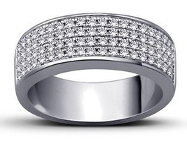 Awesome Band Ring Sterling Silver 925 With Micro Pave Set White Cubic Zi... - $43.69