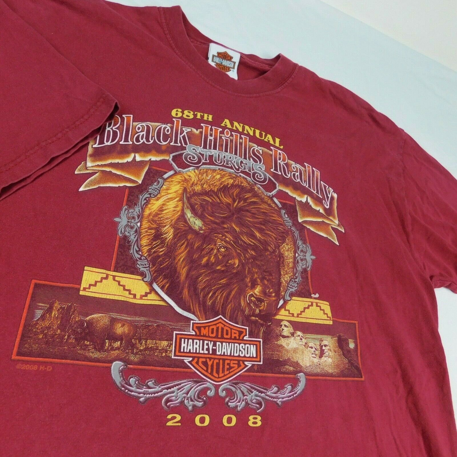 Primary image for Harley Davidson Sturgis Black Hills 2008 Buffalo Mt Rushmore Red T Shirt Sz XL