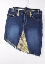 Baby Phat Jeans Co Denim Jeans Rock Asymmetrisch Stretch Tiermuster Größe 9 - $19.75