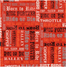 BTY BORN to RIDE Biker Words on Red Print 100% Cotton Quilt Craft Fabric... - $10.00