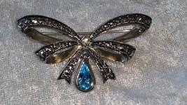 Vintage Avon Birthstone bow pin brooch from 1994 September baby silvertone - $15.00